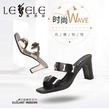 LESELE/萊思麗夏季新款一字女鞋高跟職業鞋 純色牛皮粗跟涼拖女KE71-LB2993