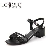 LESELE/莱思丽夏季中跟搭扣羊皮女鞋 露趾粗跟水钻镂空饰凉鞋女KE71-LB3382