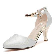 莱卡金顿 夏新款女凉鞋高跟尖头时尚优雅女鞋细跟一字扣工作鞋 LK/6047