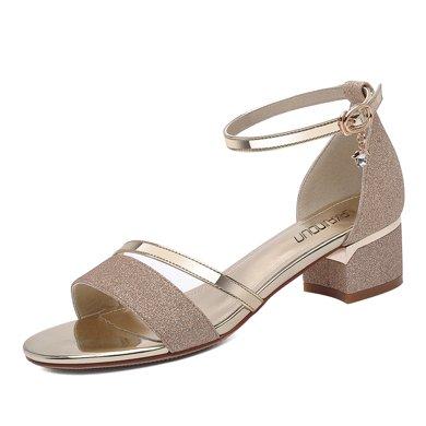 萊卡金頓 涼鞋女夏新款露趾中跟粗跟一字帶涼拖鞋韓版百搭時尚外穿涼鞋 LK/6303