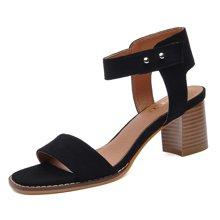 莱卡金顿 凉鞋夏季新款露趾浅口凉鞋一字扣带粗跟女鞋防水台女鞋 LK/6287