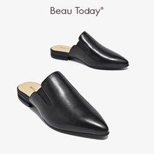 BeauToday 外穿穆勒鞋包头复古尖头春秋平底英伦风半拖鞋36032
