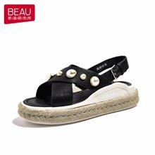 BEAU 新款凉鞋女夏交叉带松糕凉鞋女厚底罗马珍珠平底凉鞋32044