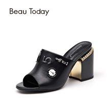 BeauToday 夏季新款珍珠鞋女粗跟穆勒鞋高跟女士凉鞋拖鞋35045