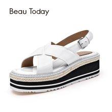 BeauToday 新款凉鞋英伦休闲软妹厚底春夏平底高跟松糕凉鞋32024