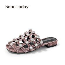 BeauToday 夏新款网格穆勒拖鞋无后跟懒人鞋包头半拖鞋凉鞋36014