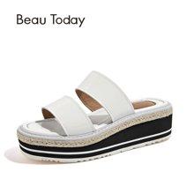 BeauToday 新款女鞋松糕凉鞋女拖鞋穆勒草编麻绳春夏凉鞋36028