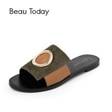 BeauToday 夏季新款拖鞋女拼色休闲平底凉拖鞋金属扣一字拖36002