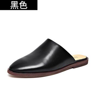 BEAU 新款包頭半拖鞋英倫風穆勒鞋平底單鞋無后跟懶人鞋外穿36048