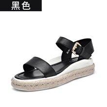 BEAU 新款松糕涼鞋女夏厚底百搭麻繩平底女士一字帶涼鞋32029