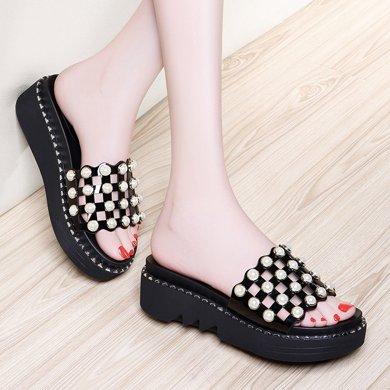 金絲兔拖鞋女夏時尚外穿涼鞋新款女鞋涼拖鞋女室外厚底外出拖鞋坡跟