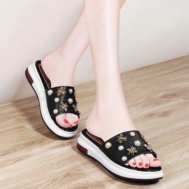 金絲兔時尚涼拖鞋夏天新款韓版一字拖百搭坡跟潮流高跟鞋拖鞋女鞋子