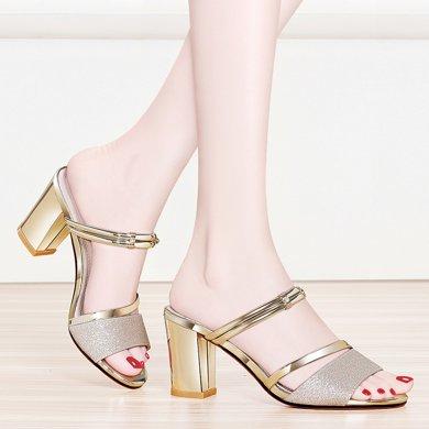 金絲兔韓版涼拖鞋女夏季新款兩穿外穿粗跟室外出一字拖鞋兩穿涼鞋女