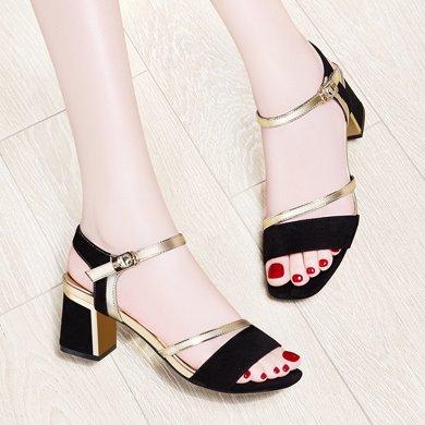 百年紀念 新款露趾方跟涼鞋淺口一字式扣帶女鞋 防水臺女鞋子bn1677