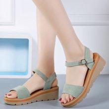 夏季新款真皮坡跟凉鞋女时尚百搭中跟松糕底休闲平底女鞋AG808