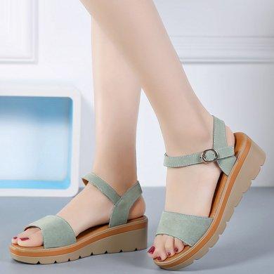 夏季新款真皮坡跟涼鞋女時尚百搭中跟松糕底休閑平底女鞋AG808