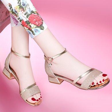 百年纪念 新款露趾方跟凉鞋 浅口一字式扣带女鞋 防水台女鞋子bn1474-1