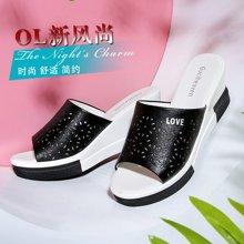 【爆款】古奇天倫 2019夏季新款涼鞋女圓頭坡跟拖鞋一字型拼色女鞋涼鞋 TL/8813
