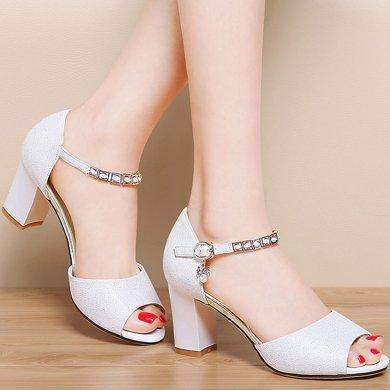 百年紀念夏季新款魚嘴淺口時尚涼鞋一字扣帶女鞋防水臺女鞋子bn1456