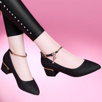 百年紀念春夏季新款尖頭方跟低幫鞋一字式扣帶水鉆女鞋防水臺女鞋子bn1698