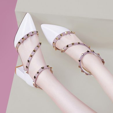 百年紀念  新款尖頭淺口涼鞋鉚釘鏡面時尚女鞋防水臺女鞋子bn1437