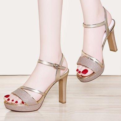 百年纪念夏季新款露趾粗跟凉鞋浅口一字式扣带高跟鞋防水台女鞋子bn1678