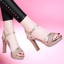 百年紀念夏季新款露趾粗跟涼鞋淺口一字式扣帶高跟鞋防水臺女鞋子bn1678