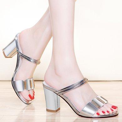 金絲兔涼拖鞋女夏新款潮粗跟兩穿涼鞋百搭韓版女士高跟室外一字拖鞋