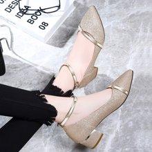 古奇天伦 2019夏季新款凉鞋女尖头低帮女鞋一字扣带水钻女鞋方跟女鞋子 TL/8691-1
