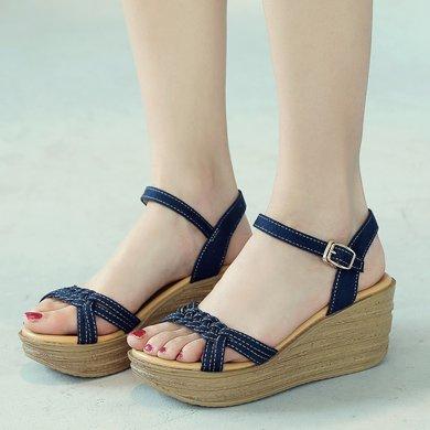 夏季新款韓版波西米亞涼鞋松糕高跟鞋厚底女鞋一字扣鞋子AG129