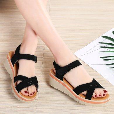 夏季新款真皮反絨皮輕便拖鞋厚底松糕底涼鞋增高女鞋AG817