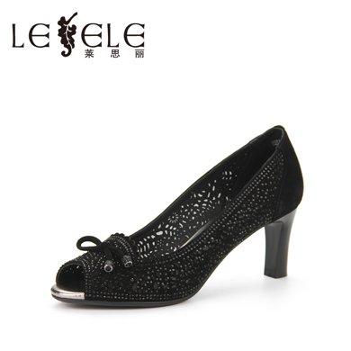 LESELE/萊思麗春季新款水鉆職業女鞋 魚嘴羊皮單鞋女粗高跟鞋KE81-LE4375