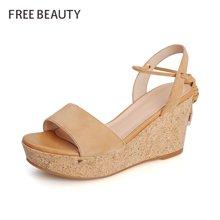 自由姿色 新款夏季波西米亚凉鞋坡跟磨砂增高鞋FYQ8B195