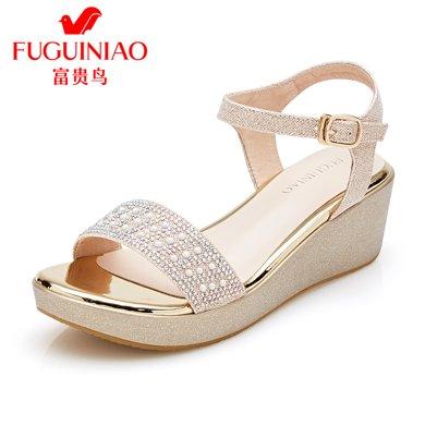 富貴鳥涼鞋 韓版時尚水鉆坡跟厚底松糕鞋 N99E042P