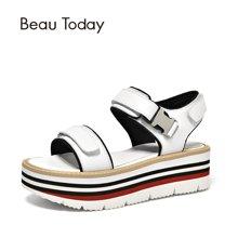 BeauToday 新款松糕鞋女夏季一字带高跟凉鞋厚底鞋魔术贴32055