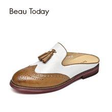 BeauToday 拖鞋女外穿穆勒鞋包头拖鞋无后跟懒人鞋半拖鞋平底36037