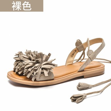BEAU 新款女涼鞋夏外穿時尚平底涼鞋流蘇女軟底綁帶羅馬涼拖32066
