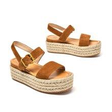 BEAU 新款女涼鞋簡約平底休閑松糕鞋沙灘麻繩厚底軟妹涼鞋32071