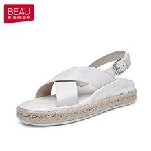 BEAU 新款涼鞋女夏平底簡約松糕軟妹涼鞋羅馬涼鞋厚底女鞋a32030