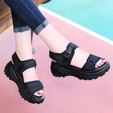 古奇天倫 2019夏季新款露趾坡跟女涼鞋魔術貼拼色女鞋新款舒適女鞋休閑涼鞋 TL/8954
