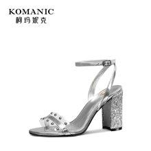 柯玛妮克 2018夏季新款超高跟女鞋 拼色露趾凉鞋女牛皮职业粗跟鞋K83643
