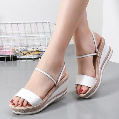 米基拖鞋女真皮室外韓版一字拖女防滑平底沙灘鞋平跟涼拖鞋女夏季外穿AL2011