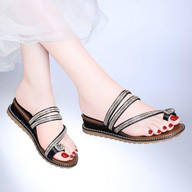 百年紀念 新款夏季套趾坡跟涼拖水鉆休閑女鞋防水臺女鞋子bn1742