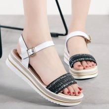 米基新款夏季時尚休閑一字帶真皮坡跟女式涼鞋柔軟耐磨厚底女士高跟鞋AL896