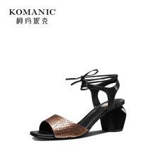 柯玛妮克 2018夏季新款女鞋子 绑带粗跟凉鞋女鱼皮拼接羊皮高跟鞋K82673