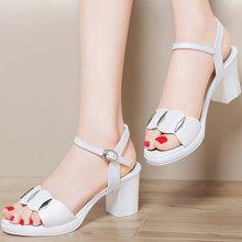 百年纪念 夏季新款露趾浅口凉鞋一字扣带粗跟女鞋防水台女鞋子bn1459