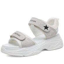 金丝兔凉鞋女时尚的平底老爹鞋韩版百搭学生休闲沙滩女凉鞋子