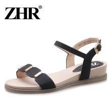 ZHR夏季新款韩版平底复古凉鞋仙女chic女鞋学生平跟坡跟鞋子
