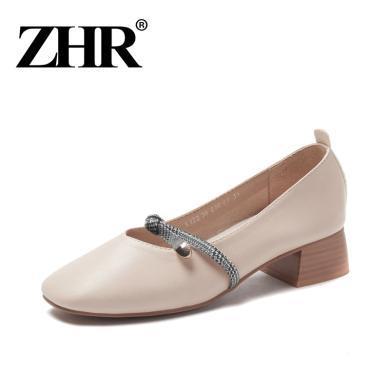 ZHR玛丽珍鞋复古粗跟单鞋春季新款方头奶奶鞋小香风皮鞋女鞋