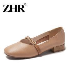 ZHR春季新款复古奶奶鞋粗跟玛丽珍鞋女浅口小皮鞋中跟单鞋子